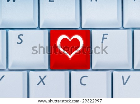 keyboard with heart-key
