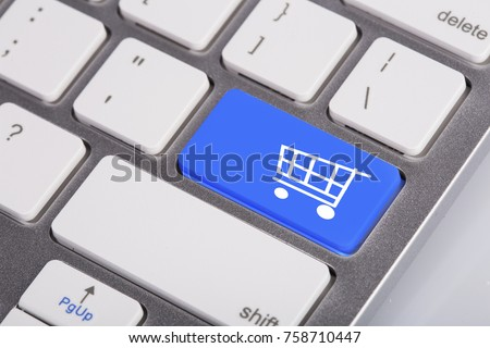 Keyboard with icon online shopping cart