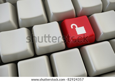 "keyboard with ""lock"" button 3d rendering"