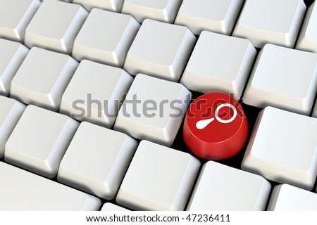 "Keyboard with one ""Search"" red button 3d model"