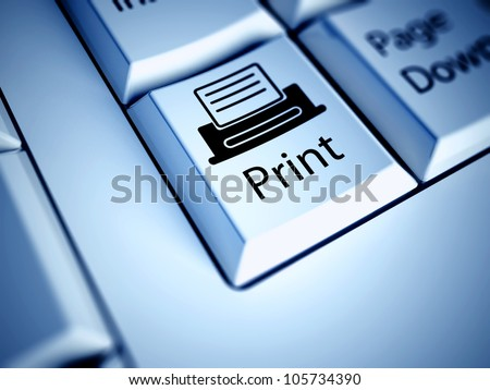 Keyboard with Print button, computer concept