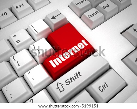 "Keyboard with ""internet&quot ; button 3d - stock photo"