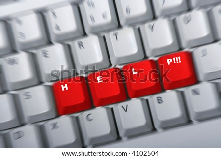 Keyboard with red keys HELP next to each other. Zoom blur to intensify the concept. White letters