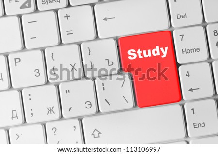Keyboard with red study button, internet concept