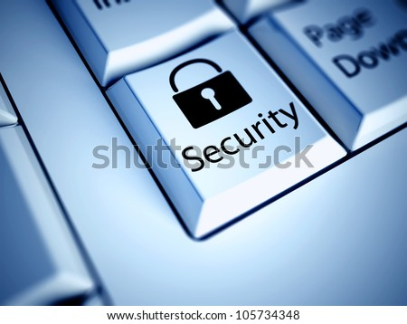 Keyboard with Security button, internet concept