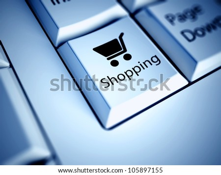 Keyboard with Shopping button, internet concept