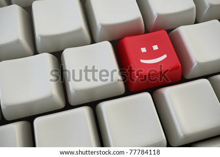keyboard with smile button 3d rendering