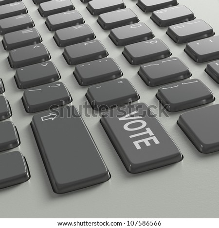 Keyboard with word Vote as choice concept on white background