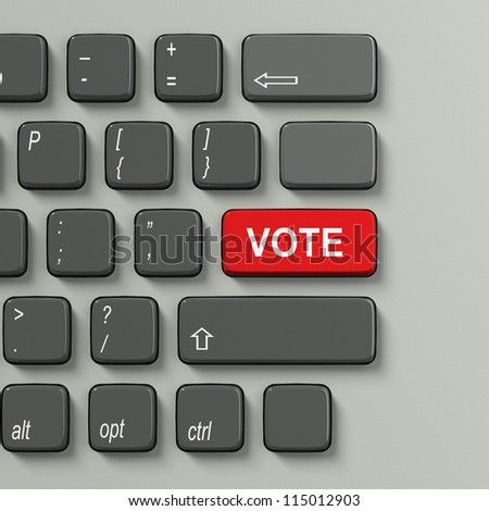Keyboard with word Vote in red as choice concept on white background