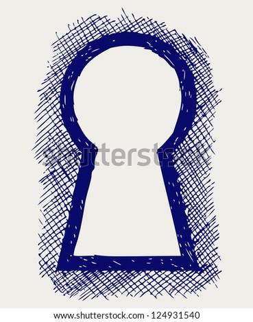 Keyhole. Doodle style. Raster version