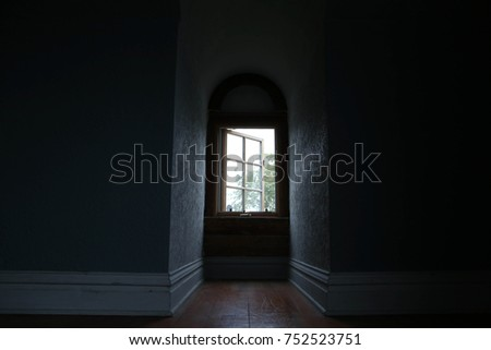 Keyhole window in an empty room #752523751
