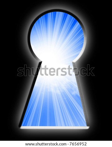 Keyhole with view of a bright blue day
