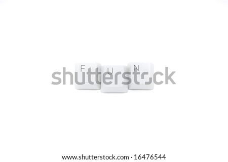 "Keypad buttons ""fun"" isolated on white background"