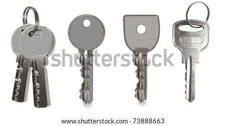 keys collection isolated on white background