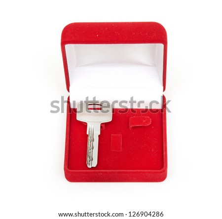 keys in red gift box