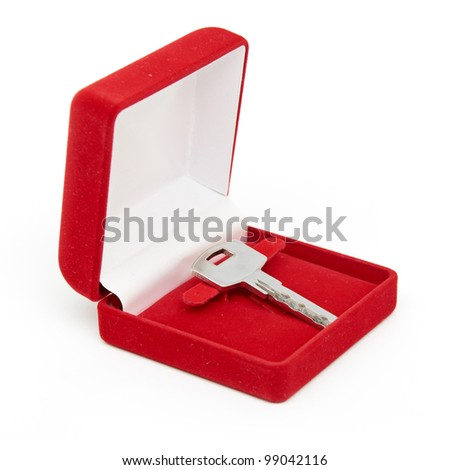 keys in red gift box isolated on white - stock photo