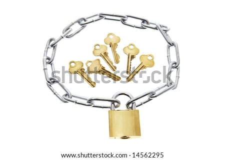 Keys, Lock and Chain on White Background