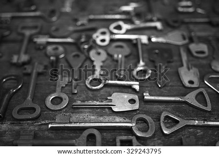 Keys locks wooden background #329243795