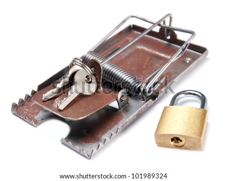 Keys of a locked padlock as a bait in the mousetrap.
