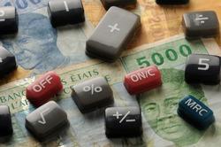 Keys of the electronic calculator on cfa francs