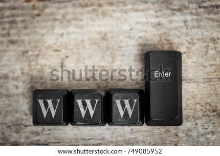keys on a wooden table with the word www, concept world wide web, internet #749085952