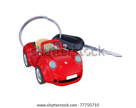 Keys to the car with trinket. Isolated on white background. 3d rendered