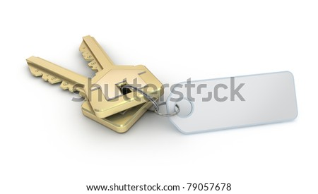 Keys with empty thumb on white