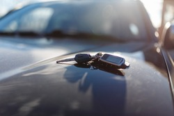 Keys with immobilizer on the car hood in the background of the front Windows. Beautiful spring light and the sun.