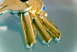 Keys with trinkets, close-up, keys to home