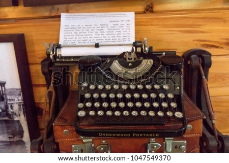 Keywest, Florida - March 04, 2018: A view of one of  Ernest Hemingway's typewriter displayed in his Key West house #1047549370
