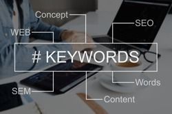 Keyword seo content website tags search. SEO positioning service in the screen