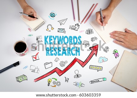 Keywords Research Business Concept. The meeting at the white office table