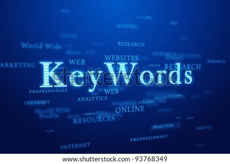 Keywords. Words cloud on deep blue background.