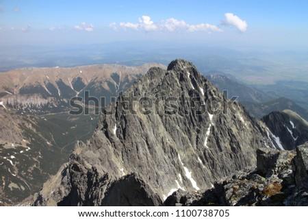 Kezmarsky  peak ( 2558 m) from Lomnicky peak (2634 m),, High Tatras, Slovakia