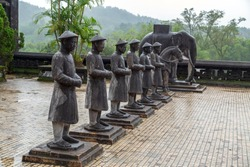 Khai Dinh Royal Tomb in Hue, Vietnam. Confucians in Nguyen Dynasty, Sculpture honor guard of stone bodyguards mandarins elephants and horses.