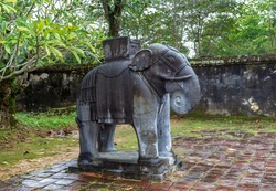 Khai Dinh Royal Tomb in Hue, Vietnam. Elephant Statue.