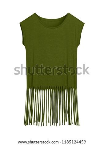 Khaki blank boho style summer t-shirt with long fringes isolated on white Zdjęcia stock ©