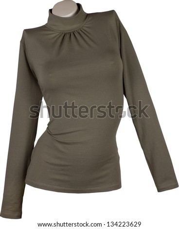 Khaki shirt with sleeves isolated on white background on a mannequin