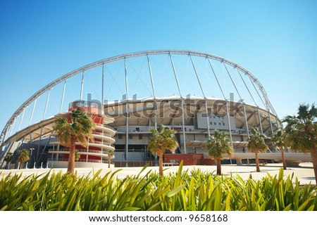 Khalifa (Kalifa) sports stadium in Doha, Qatar where the 2006 Asian games were hosted and location for the proposed 2016 Olympic Games (wide angle lens distortion on edges) - stock photo