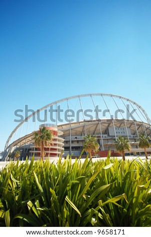 Khalifa (Kalifa) sports stadium in Doha, Qatar where the 2006 Asian games were hosted and location for the proposed 2016 Olympic Games (wide angle lens distortion on edges)