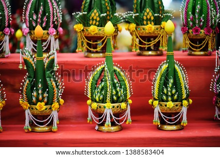 Khan Mak Ben is Phan put flowers that is used as a shrine to worship in the ritual. And worshiping the Triple Gem in important days Buddhism