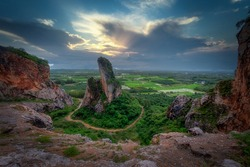 Khao Khuha, one of mountain at Songkhla in Thailand during sunrise time. Unseen Songkhla.