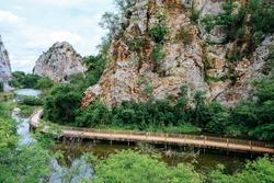 Khao Ngoo Rock Park. walkway in of Mount Khao Ngoo Rock Park at Ratchaburi Province, Thailand.