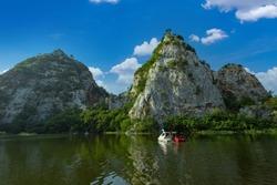 Khao Ngu Stone Park in Ratchaburi, Thailand also call Snake Mountain. beautiful stone mountain in Ratchaburi.