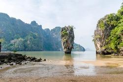 Khao Phing Kan  eroded limestone karst tower rock, James Bond island, Thailand