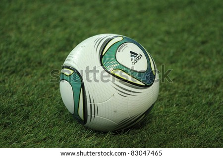 KHARKIV, UA - AUGUST 10: Official ball of Ukraine - Sweden (0:1) national teams friendly football match, August 10, 2011 in Kharkov, Ukraine