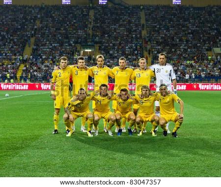 KHARKIV, UA - AUGUST 10: Ukrainian national team at start of Ukraine - Sweden (0:1) national teams friendly football match, August 10, 2011 in Kharkov, Ukraine