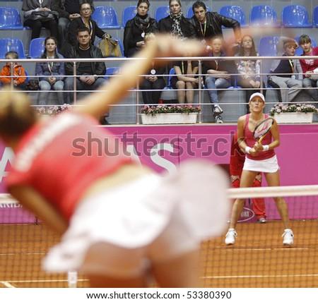 KHARKIV, UKRAINE - APRIL 24: Australian tennis player Anastasia Rodionova during her Fed Cup, 2010 World Group Play-Off singles match vs. Ukrainian Alona Bondarenko, April 24, 2010 in Kharkiv, Ukraine