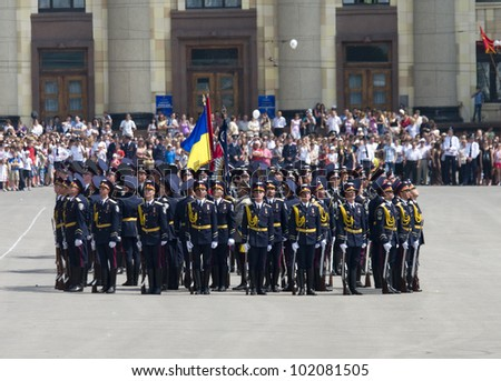 KHARKIV, UKRAINE - MAY 09:  Military Parade of Victory Day on Freedom Square on May 09, 2012 in Kharkiv, Ukraine.