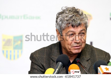 KHARKIV, UKRAINE - SEPTEMBER 25: FC Shakhtar Donetsk head Coach Mircea Lucescu at press-conference after football match vs. FC Metalist Kharkiv, September 25, 2010 in Kharkov, Ukraine